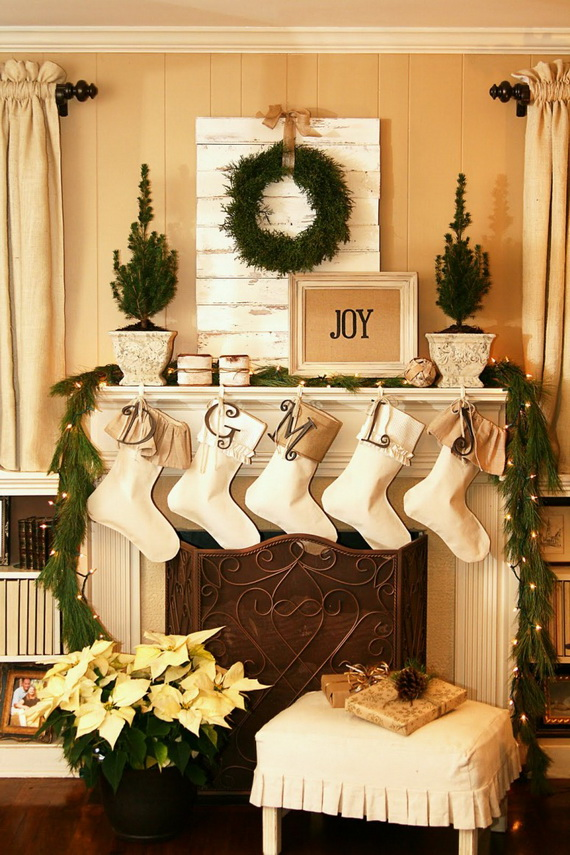 Fireplace Design fireplace christmas decorations : 50 Gorgeous Christmas Holiday Mantel Decorating Ideas - family ...