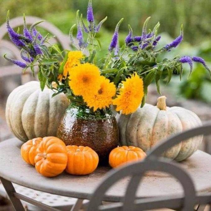 60 amazing pumpkin centerpieces and glorious fall for Autumn flower decoration