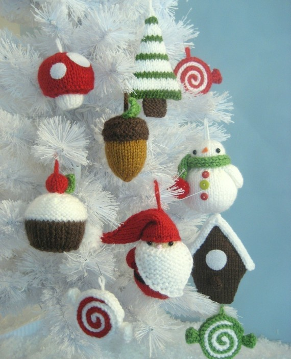 Christmas Decor – Knit Christmas Tree Ornament craft ideas.   (15)