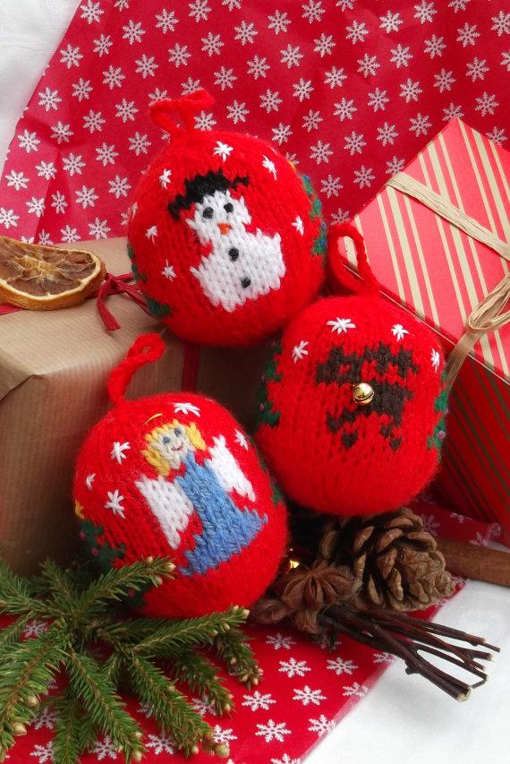 Christmas Decor – Knit Christmas Tree Ornament craft ideas.   (30)