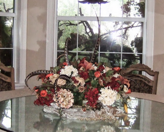 Cool Fall Flower Centerpiece and Flower Table  (79)