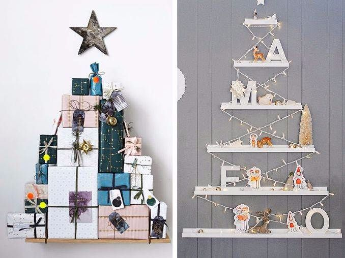 60 wall christmas tree alternative christmas tree ideas family to family - Creative modern christmas tree designs for christmas celebration ...
