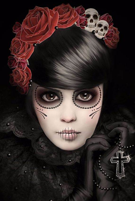 50 Halloween Best Calaveras Makeup Sugar Skull Ideas for Women (10)