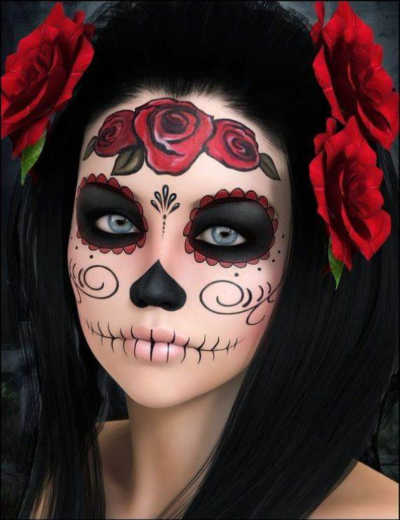 50 Halloween Best Calaveras Makeup Sugar Skull Ideas for Women (8)