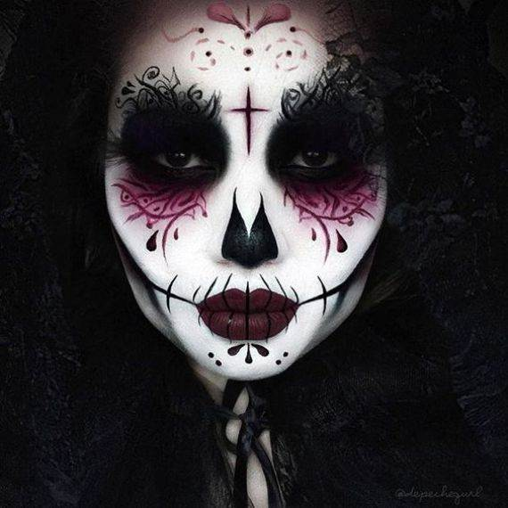 50 Halloween Best Calaveras Makeup Sugar Skull Ideas for Women (9)