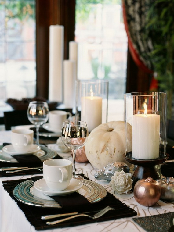 Stylish Thanksgiving Decorating Ideas Cups Glasses Candles Pumpk