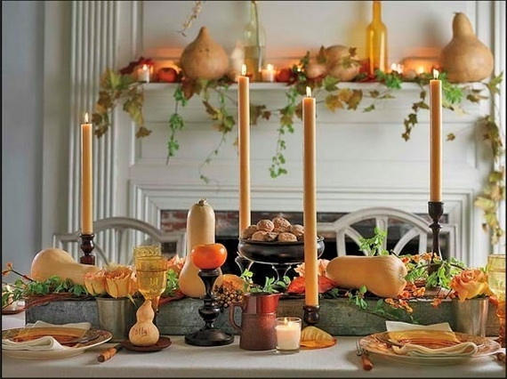 Classic Thanksgiving Decorating Ideas Near Fireplace Orange Cand