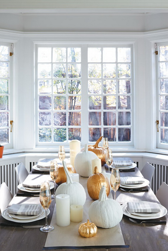 Thanksgiving home decor ideas festive atmosphere in gold and white family Home decor gold
