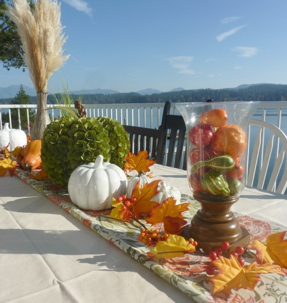 Beautiful thanksgiving fall table settings and centerpiece