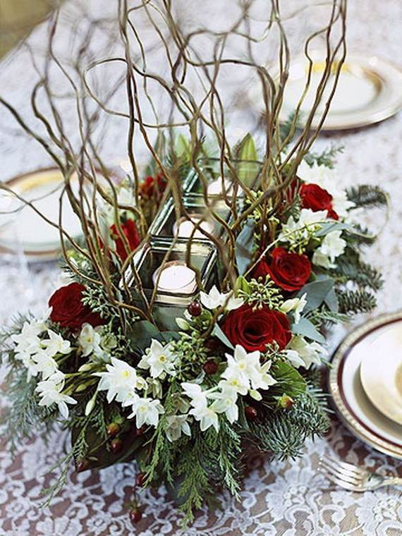 inspiring winter and christmas theme wedding centerpieces, Natural flower