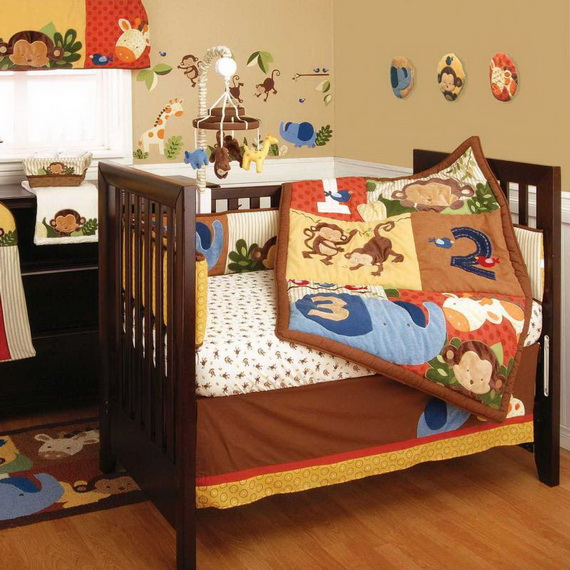 Monkey Baby Crib Bedding Theme and Design Ideas _06