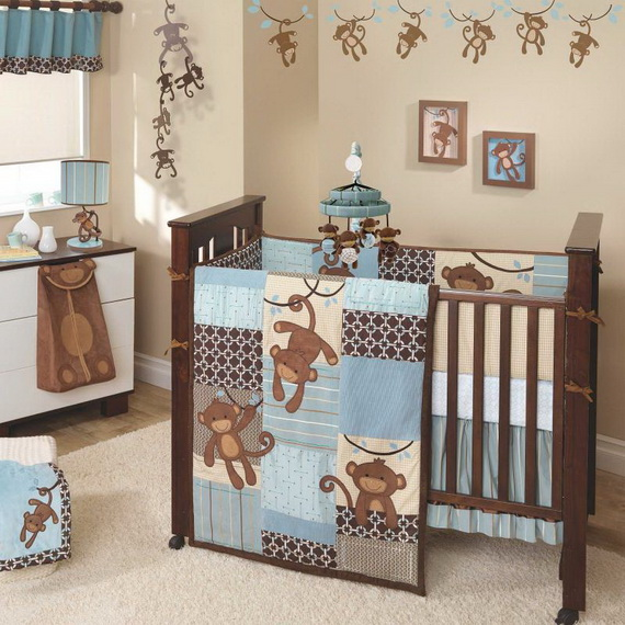 Monkey Baby Crib Bedding Theme and Design Ideas _17