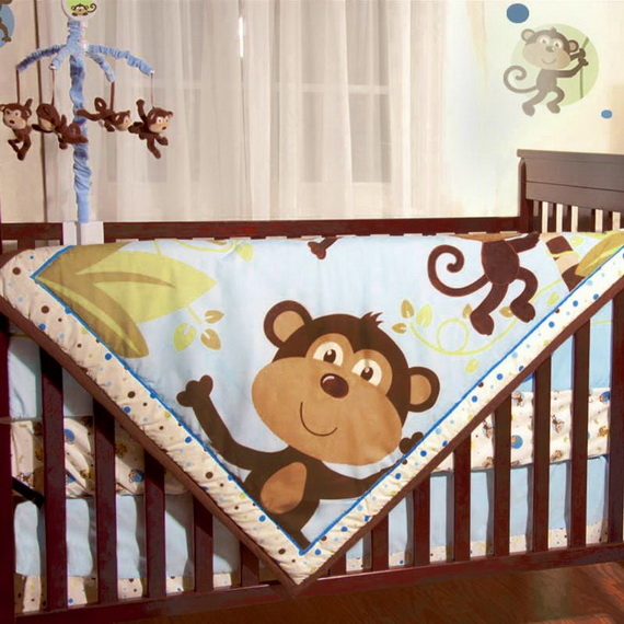 Monkey Baby Crib Bedding Theme and Design Ideas _32
