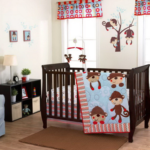 Monkey Baby Crib Bedding Theme and Design Ideas _34
