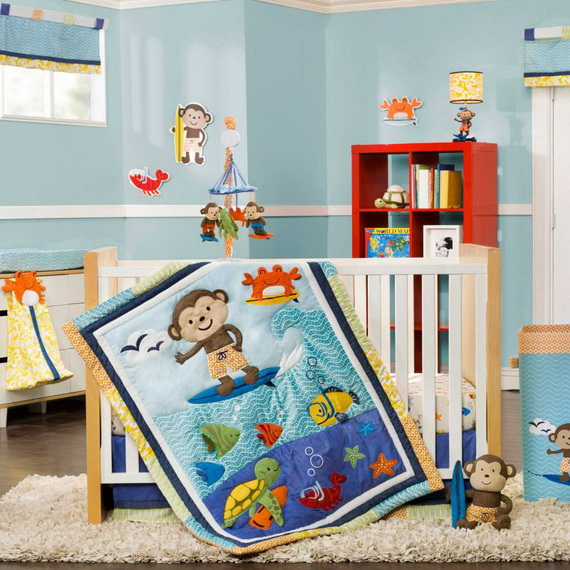 Monkey Baby Crib Bedding Theme and Design Ideas _40