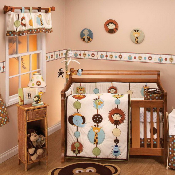 Monkey Baby Crib Bedding Theme and Design Ideas _41