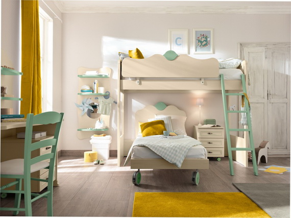 30 Vibrant and Lively Twin/ Kids Bedroom Designs - 11 - Pelfind