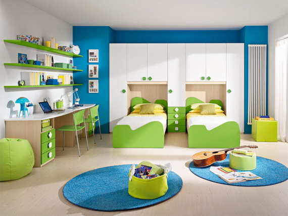 Vibrant and Lively Twin- Kids Bedroom Designs_21