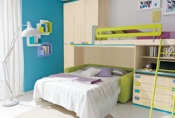 30 Vibrant and Lively Twin/ Kids Bedroom Designs - 8 - Pelfind