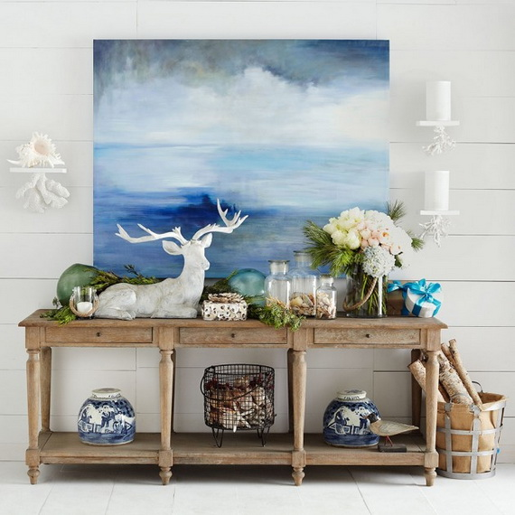 50 magnificent coastal themed christmas interior decor for Interior xmas decorations