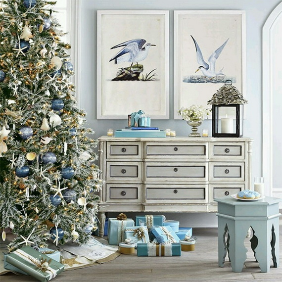 50 Magnificent Coastal Themed Christmas Interior Decor Family