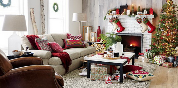 Nice Elegant Christmas Country Living Room Decor Ideas