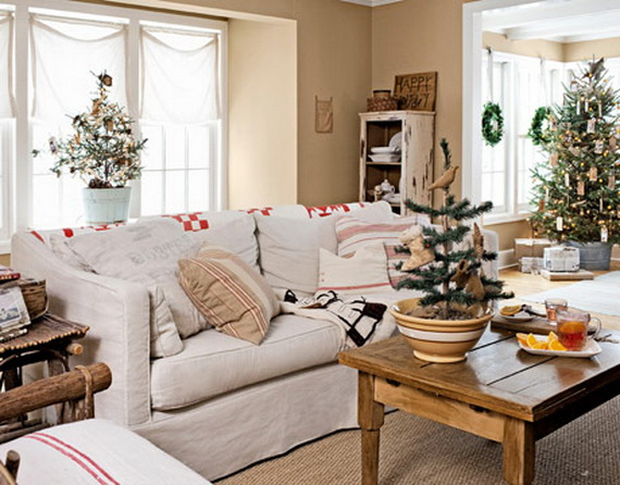 Elegant Christmas Country Living Room Decor Ideas 04