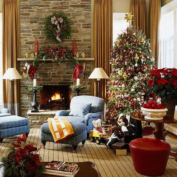 Elegant Christmas Country Living Room Decor Ideas_15