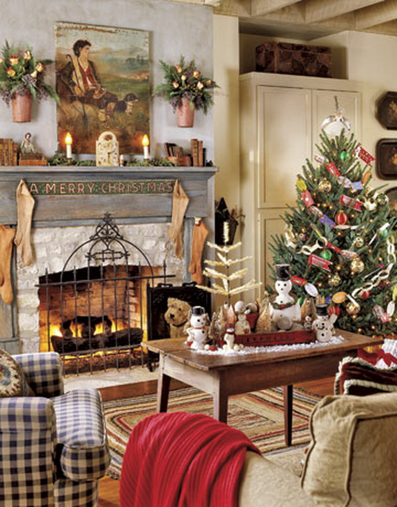 Elegant Christmas Country Living Room Decor Ideas_3