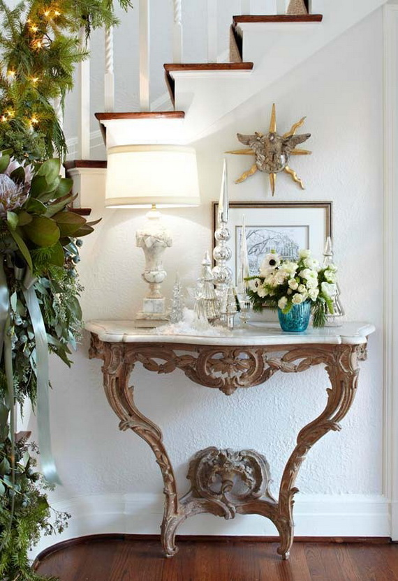Christmas Decorating Ideas For Entry Table : Fresh festive christmas entryway decorating ideas