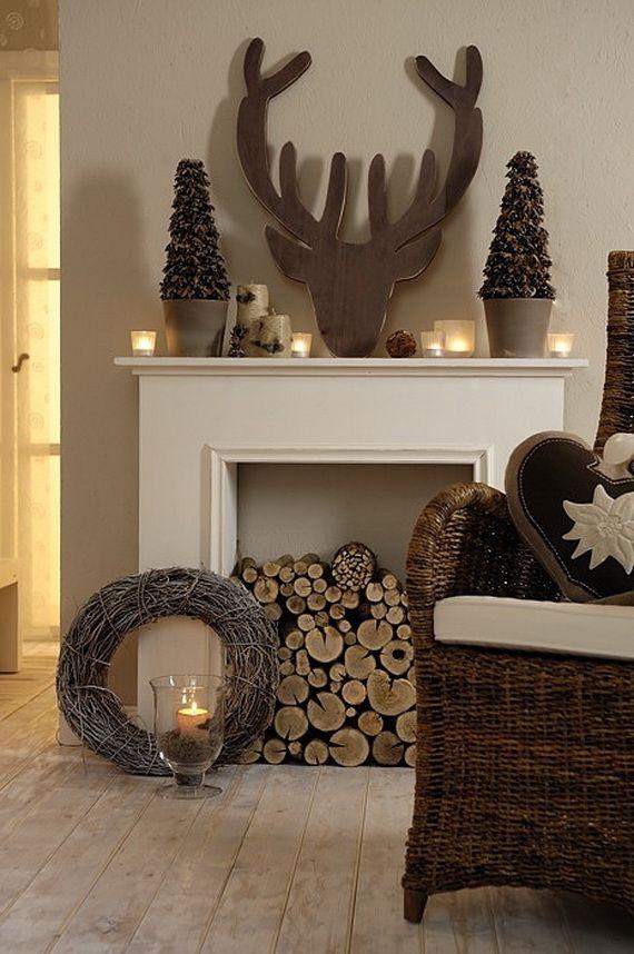 Gorgeous Fireplace Mantel Christmas Decoration Ideas _04