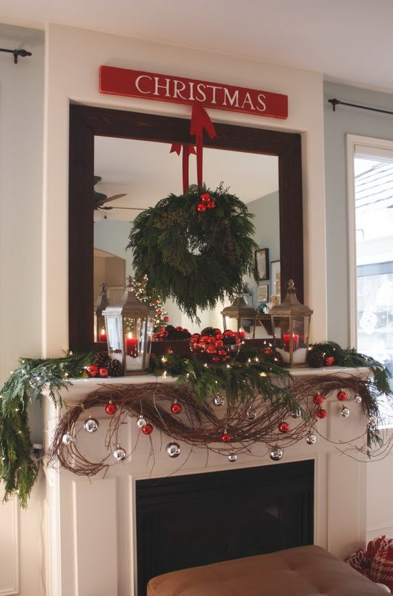 gorgeous fireplace mantel christmas decoration ideas _14