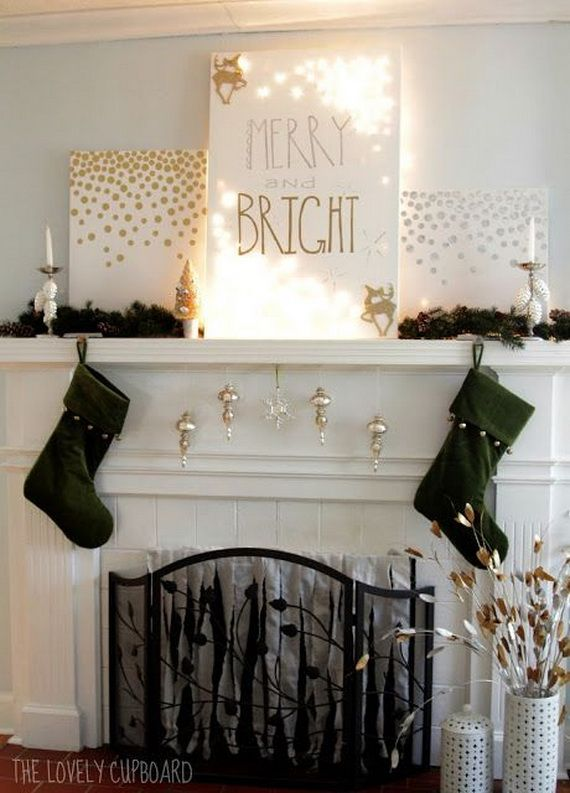 Gorgeous fireplace mantel christmas decoration ideas for Diy modern christmas decorations