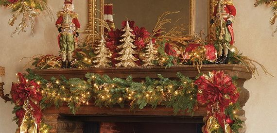 gorgeous fireplace mantel christmas decoration ideas _45