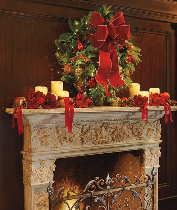 gorgeous fireplace mantel christmas decoration ideas _46