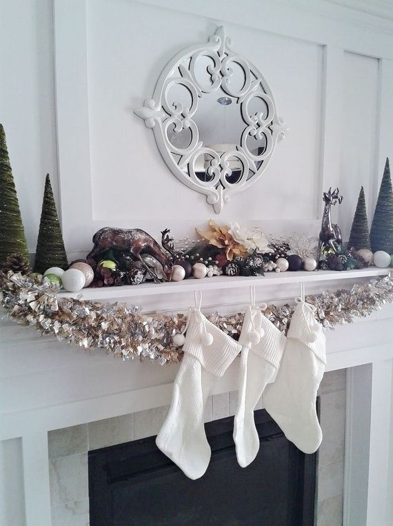 gorgeous fireplace mantel christmas decoration ideas _82 - How To Decorate A White Fireplace Mantel For Christmas