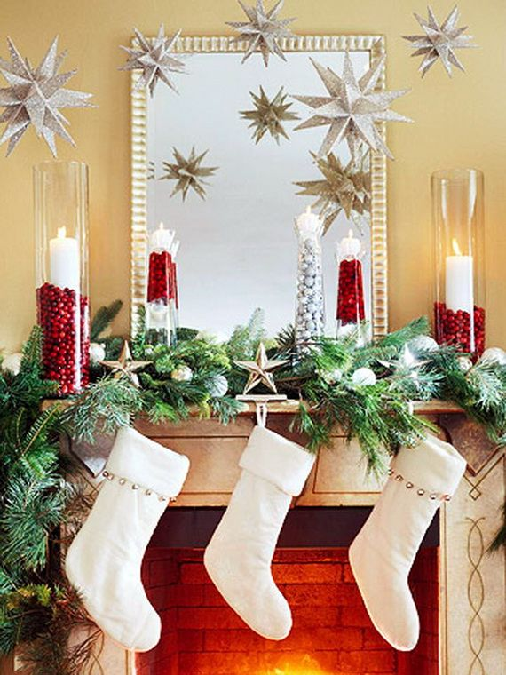 gorgeous fireplace mantel christmas decoration ideas _94 - Christmas Fireplace Decorating Ideas