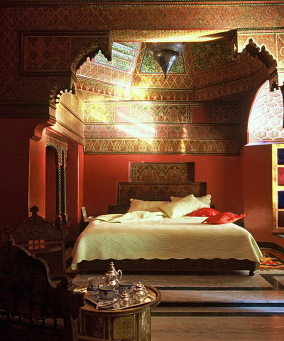 Stunning King Moroccan Bedroom Design Red Interior Classic Accen