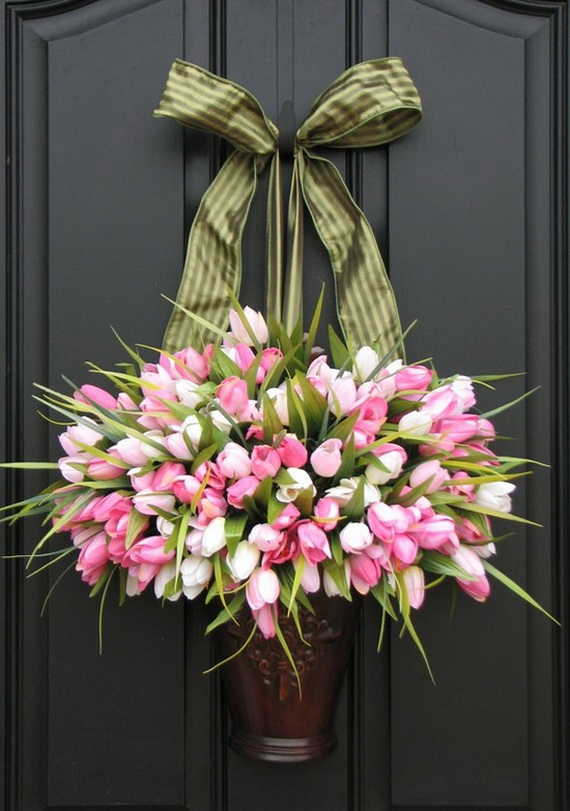 Easter and spring door decoration ideas family holiday Spring flower arrangements for front door