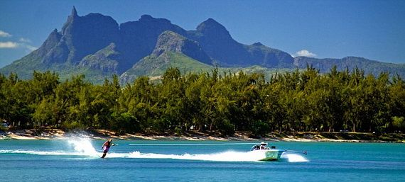 Water ski of Club Med at La Pointe aux Canonniers at north east coast Mauritius Africa