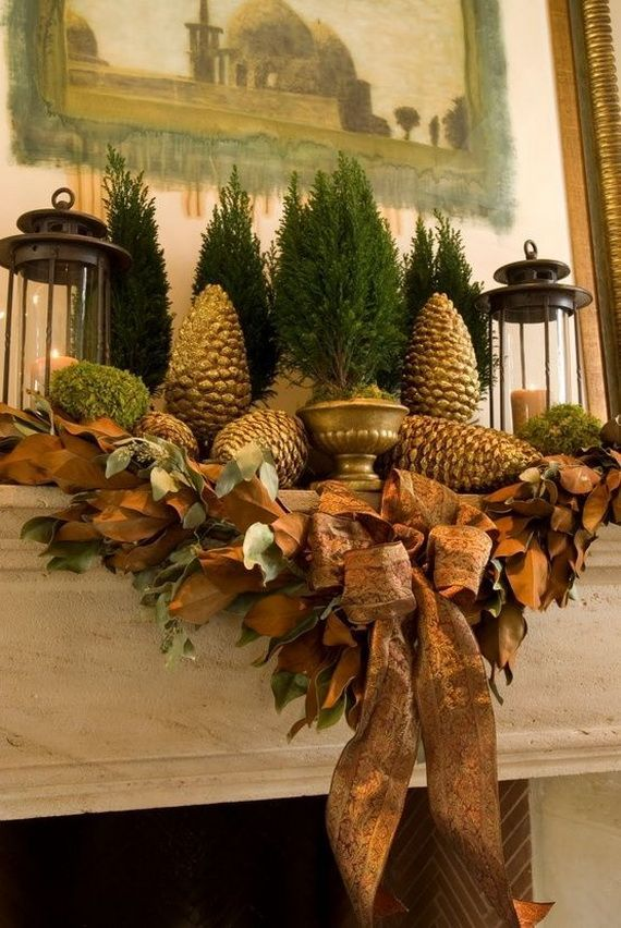 35 Gorgeous Holiday Mantel Decorating Ideas with Pine cones_27
