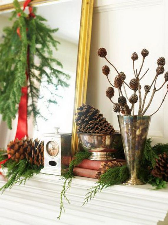 35 Gorgeous Holiday Mantel Decorating Ideas with Pine cones_35