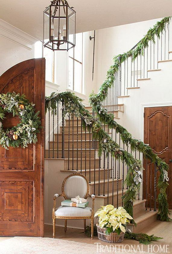 Festive Holiday Staircases and Entryways_90