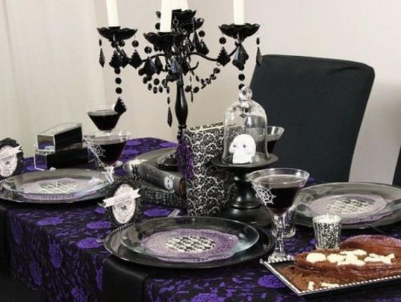 Whimsical Spooky Halloween Table Decoration Wedding Ideas _13