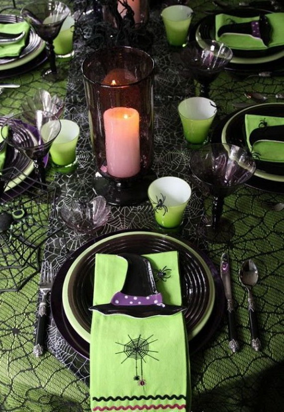 Whimsical Spooky Halloween Table Decoration Wedding Ideas _51