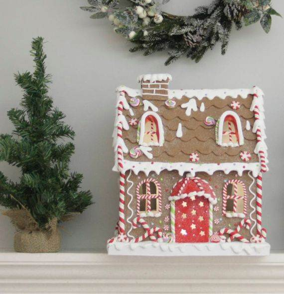 large light up gingerbread house ornament - Gingerbread House Christmas Decorations