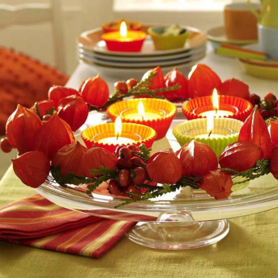 Cool Orange Fall &Thanksgiving Decorating Ideas with Chinese Lanterns  (12)