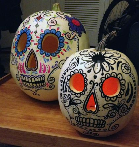 10 dia de los muertos day of the dead ideas to bring White pumpkin carving ideas