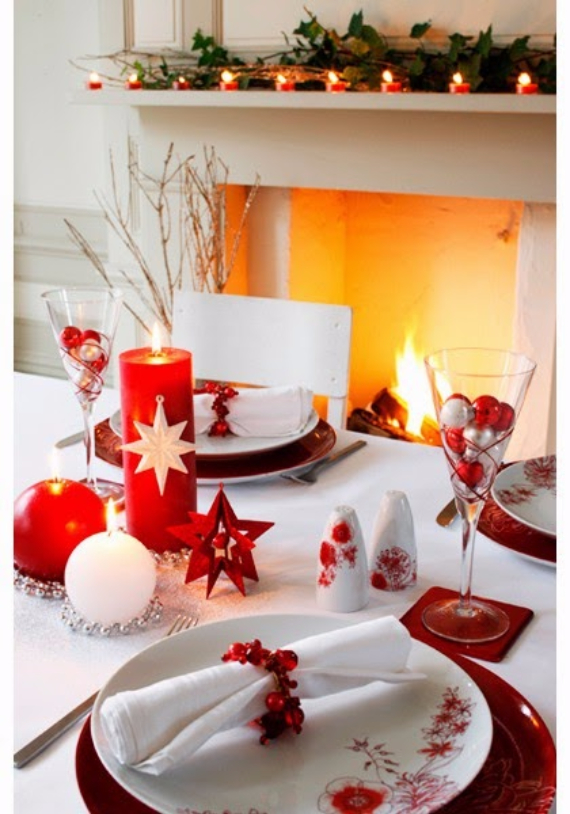 60 christmas dining table decor in red and white family for Christmas decorations for the dinner table