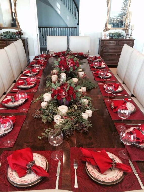 christmas dining table decor in red and white 2
